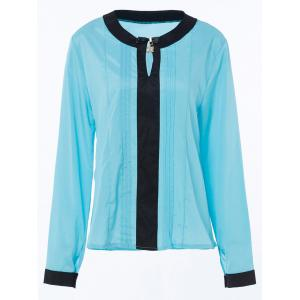 Stylish Round Collar Long Sleeve Color Block Ruffled Women's Blouse - LAKE BLUE S