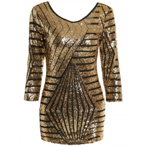 Chic Scoop Neck 3/4 Sleeve Sequined Bodycon Women's Dress