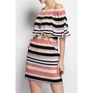 Off The Shoulder Striped Dress -