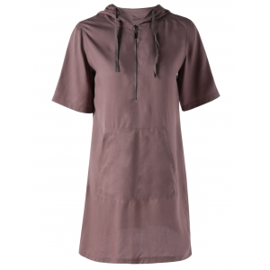 Pocket Design Hooded Casual T Shirt Dress