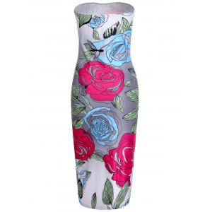 Attractive Strapless Colorful Floral Printed Bodycon Midi Dress For Women -