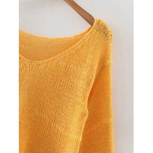 Stylish V Neck Flare Sleeve Pure Color Women's Jumper -