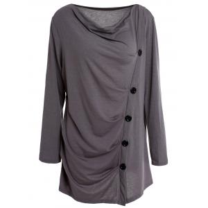 Stylish Cowl Neck Long Sleeve Draped Solid Color Women's T-Shirt