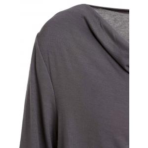 Stylish Cowl Neck Long Sleeve Draped Solid Color Women's T-Shirt -