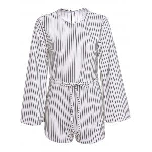 Stylish Round Neck Long Sleeve Slit Striped Women's Romper