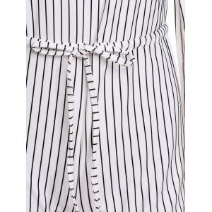 Stylish Round Neck Long Sleeve Slit Striped Women's Romper - WHITE AND BLACK ONE SIZE(FIT SIZE XS TO M)