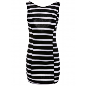 Sweet V-Shape Backless Bowknot Striped Bodycon Mini Dress For Women - White And Black - L
