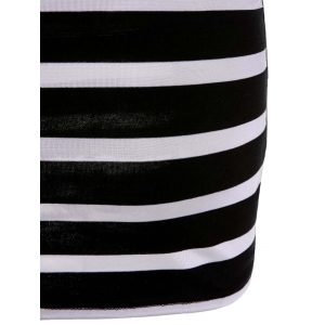 Sweet V-Shape Backless Bowknot Striped Bodycon Mini Dress For Women - WHITE AND BLACK S