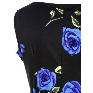 Retro Style Round Neck Sleeveless Roses Print Women's Ball Gown Dress - BLUE 2XL