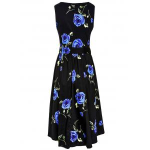 Retro Style Round Neck Sleeveless Roses Print Women's Ball Gown Dress - BLUE M