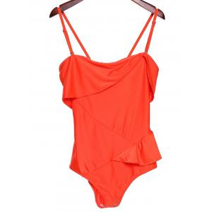 Stylish Spaghetti Strap Spliced Solid Color One-Piece Women's Peplum Swimsuit