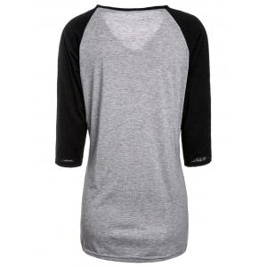 Simple Style V-Neck Color Spliced 3/4 Sleeve Pullover Baseball T-Shirt For Women -