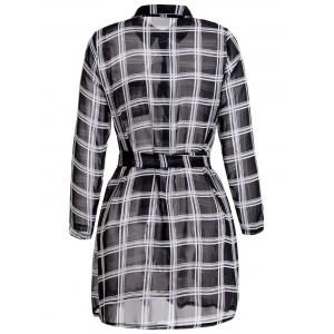 Simple Style Shirt Collar Plaid Printed Waist Tied Mini Dress For Women -