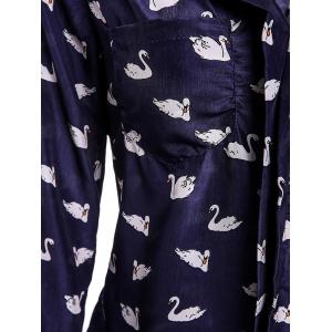Stylish Long Sleeve Swan Print Shirt For Women -