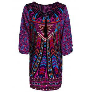 Stylish Lace-Up V-Neck Colorful Ethnic Print 3/4 Sleeve Dress For Women - Colormix - S