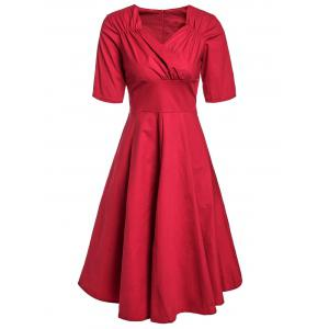 Retro Style Sweetheart Neck Short Sleeve Solid Color Ruched Women's Dress