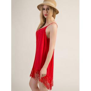 Spaghetti Strap Fringe Design Flapper Dress - RED XL