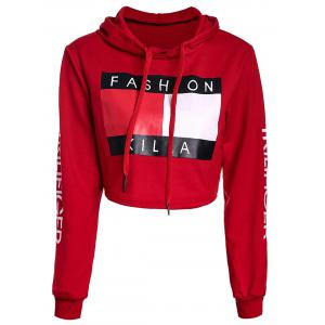 Active Long Sleeve Color Block Letter Printed Cropped Hoodie For Women