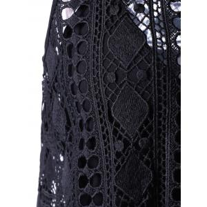 Sleeveless Lace Openwork Asymmetrical Dress - BLACK M