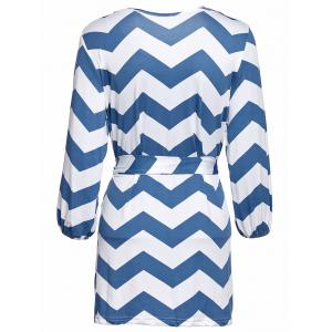 Stylish Scoop Neck Ripple Print Lace-Up 3/4 Sleeve Dress For Women -