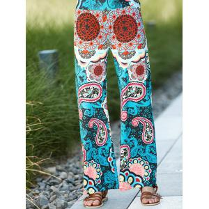 High Waist Colorful Damask Printed Wide-Leg Palazzo Pants - Colormix - S