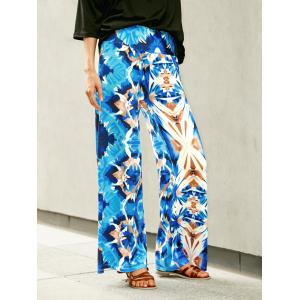 Wide Leg Printed High Waist Flowy Pants - Blue - S