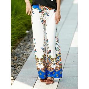Palazzo Ethnic Floral Pants - White - S