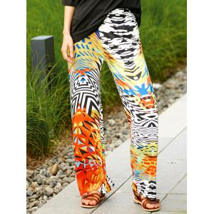 Colorful Ethnic Print Wide Leg Palazzo Pants - Colormix - S