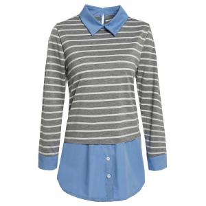 Trendy Color Block Striped Faux Twinset Plus Size Blouse For Women