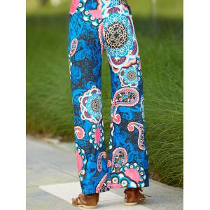 Ethnic Paisley Wide Leg Exumas Pants For Women - DEEP BLUE L