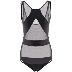 Stylish Round Neck Mesh Splicing One-Piece Swimsuit For Women -