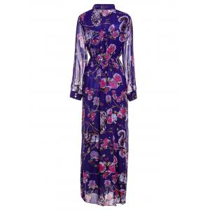 Floral Printed Maxi Chiffon Dress with Sleeves -