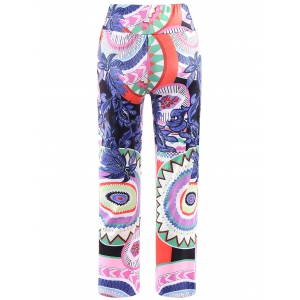 Fashionable Elastic Waist Printed Loose-Fitting Women's Exumas Pants - COLORMIX M