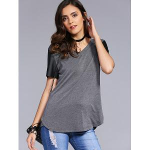 Fashionable V-Neck Color Block Metal Decoration T-Shirt For Woman -