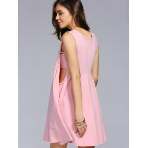 Cut Out Swing Casual Dress - LIGHT PINK XL
