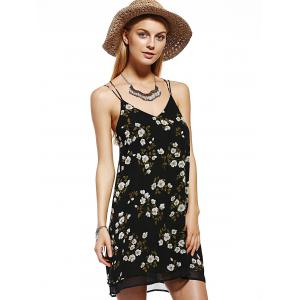 Charming V-Neck Spaghetti Strap Flower Print Dress For Women -
