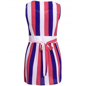 Stylish V-Neck Sleeveless Striped Colored A-Line Bowkont Women's Dress - BLUE AND WHITE ONE SIZE(FIT SIZE XS TO M)