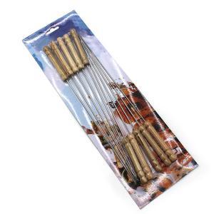 High Quality 10PCS Wooden Handle Stainless Steel Barbecue Needles -