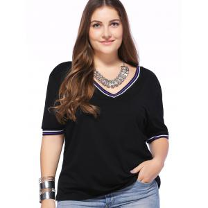 Fashionable Plus Size Round Collar Short Sleeve Contracted T-shirt -