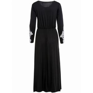 Stylish Scoop Collar Long Sleeve Appliques Design Women's Maxi Dress - BLACK M