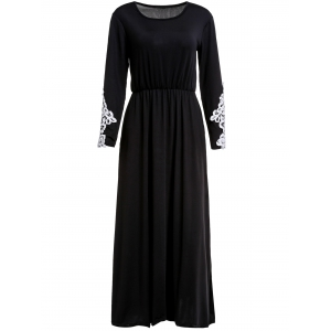 Stylish Scoop Collar Long Sleeve Appliques Design Women's Maxi Dress - Black - M