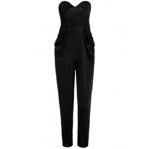 Stylish Strapless Sleeveless Pocket Design Solid Color Women's Jumpsuit - Black - M