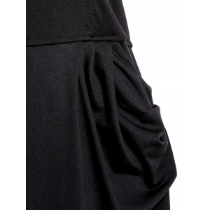 Stylish Strapless Sleeveless Pocket Design Solid Color Women's Jumpsuit - BLACK M