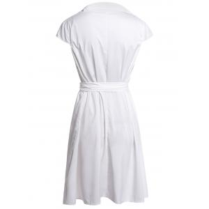 Stylish Turn-Down Neck Short Sleeve Solid Color Lace-Up Women's Dress - WHITE M