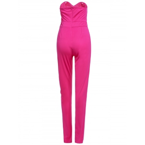 Sexy Strapless Sleeveless Solid Color Pocket Design Women's Jumpsuit - ROSE S