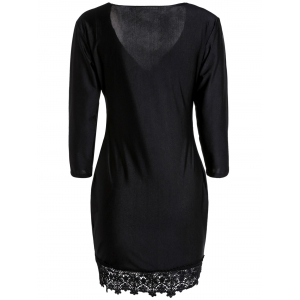 Charming Plunging Neck Black 3/4 Sleeve Lace Hem Bodycon Dress For Women - BLACK S