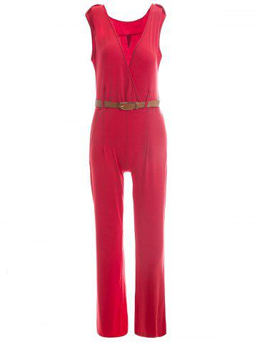 Medium RED Plunging Neck Sleeveless Solid Color Epaulet Jumpsuit