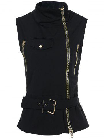 Unique Stylish Stand-Up Collar Sleeveless Zipper Embellished Solid Color Women's Waistcoat