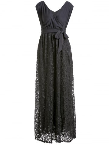Shop Plus Size Long Lace Surplice Formal Dress