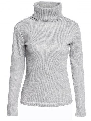 Cheap Casual Turtleneck Long Sleeve Gray Pullover Knitwear For Women GRAY S